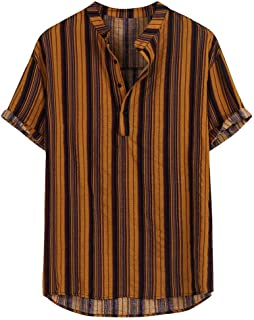 OULSEN Fashion Retro Mens Striped Shirt Casual Loose Short Sleeve Button Henley Collar Shirt Top Blouse Summer 2020
