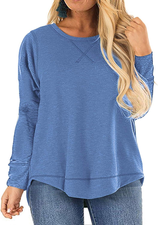 LANREMON Women Plus Size Long Sleeve Tops Crew Neck Tunic Shirts Side Split Fall Tunics Blouses