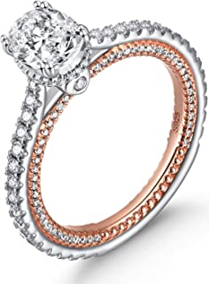 KissYan Sterling Silver Wedding Ring for Women 1.5ct Cubic Zirconia Engagement Eternity Bridal Ring Silver Rose Gold Tone Plated Ring