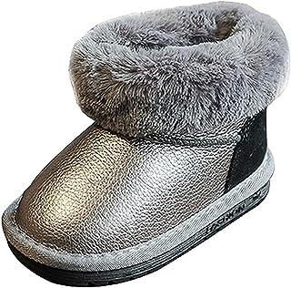 Minotta Boy's Girl's Warm Winter Plush Cozy Tie Laces Snow Boots (Toddler/Little Kid)