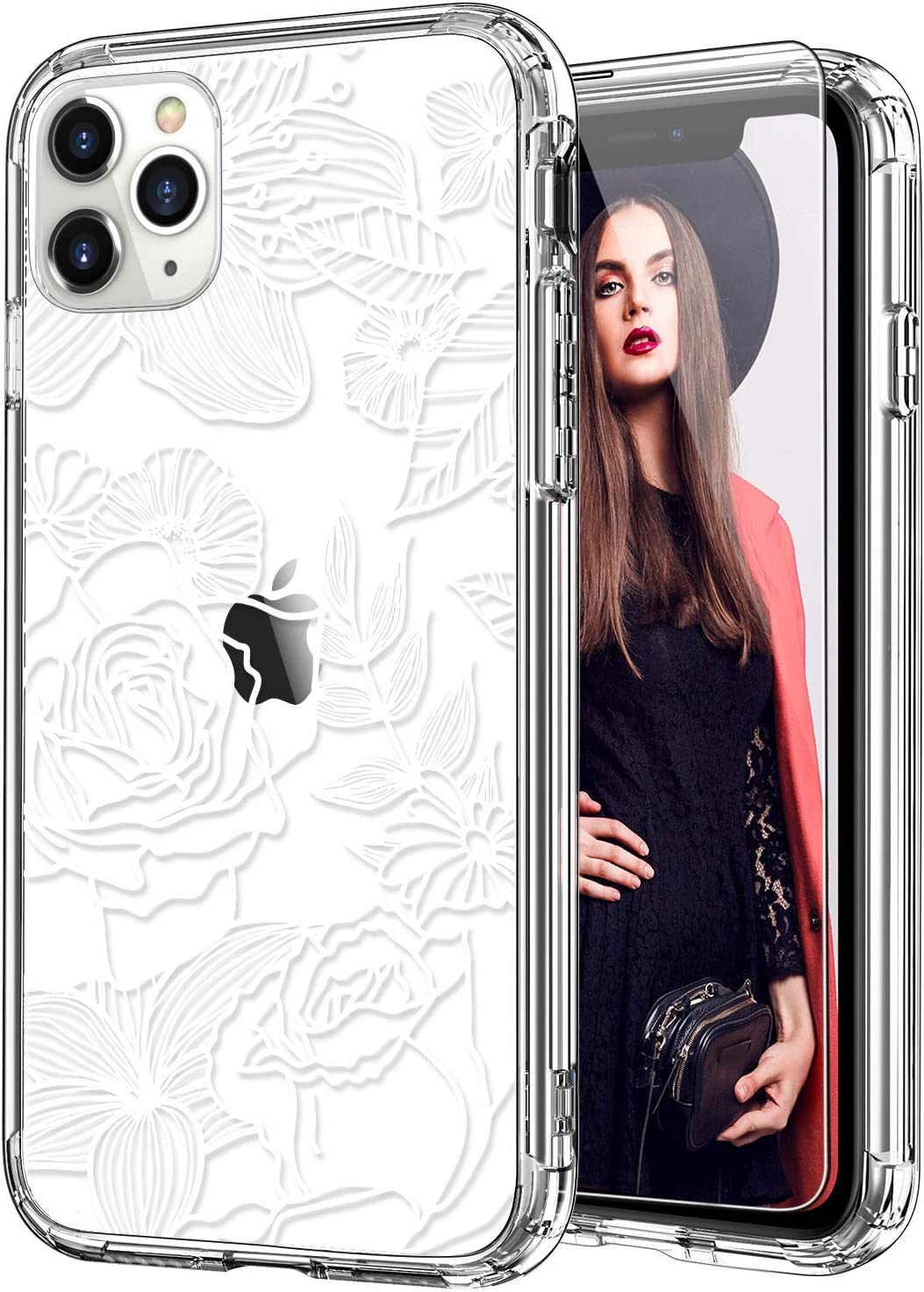 ICEDIO iPhone 11 Pro Case with Screen Protector,Clear with Elegant White Blooming Floral Patterns for Girls Women,Shockproof Slim Fit TPU Cover Protective Phone Case for Apple iPhone 11 Pro 5.8 Inch