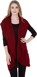 Janice Apparel Women's Winter Warm Fashion Open Front Ruana Knit Vest Wide Ruffled Trim Poncho Sweater