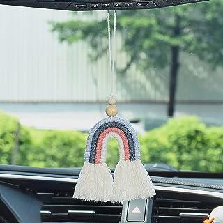 ATMOMO Handmade Weaving Rainbow Hanging Ornament Lucky Car Charm Rear View Mirror Pendant Minimalist Style Wall Decor Mode...