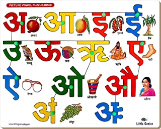 StonKraft Preschool Learning Toys - Hindi Alphabets Vowels with Knob   Hindi Alphabets Vowels   Educational Toys   Learning Games   Know Your Alphabets   Pegged Puzzles