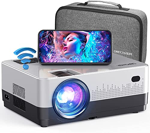 """popular DBPOWER discount WiFi Projector, 7500L Full HD 1080p Video Projector with Carry Case, Support iOS/Android Sync Screen, Zoom&Sleep Timer, online sale 4.3"""" LCD Home Movie Projector Compatible w/Smart Phone/Laptop outlet online sale"""