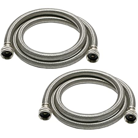 Fluidmaster 9WM60P2HE High Efficiency Washing Machine Connector 2-Pack - 3/4 Hose Fitting x 3/4 Hose Fitting, 60-Inch Length