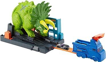Hot Wheels - City Global Nemesis TV, Dinosaurio Triceratops y lanzador de coches de juguete (Mattel GBF97)