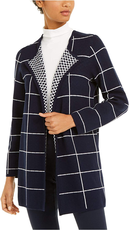 Alfani Womens Navy Long Sleeve Open Cardigan Sweater Size S