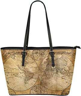 InterestPrint Retro American Map World Map Leather Tote Handbag Daily Bag with Zipper for Women