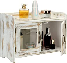 MyGift Rustic Whitewashed Wood Kitchen and Bathroom Countertop Storage Cabinet with Glass Windows and Vintage Brass Handles