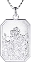 FJ St Christopher Medal Necklace 925 Sterling Silver, Protector Talisman Pendant for Men Women