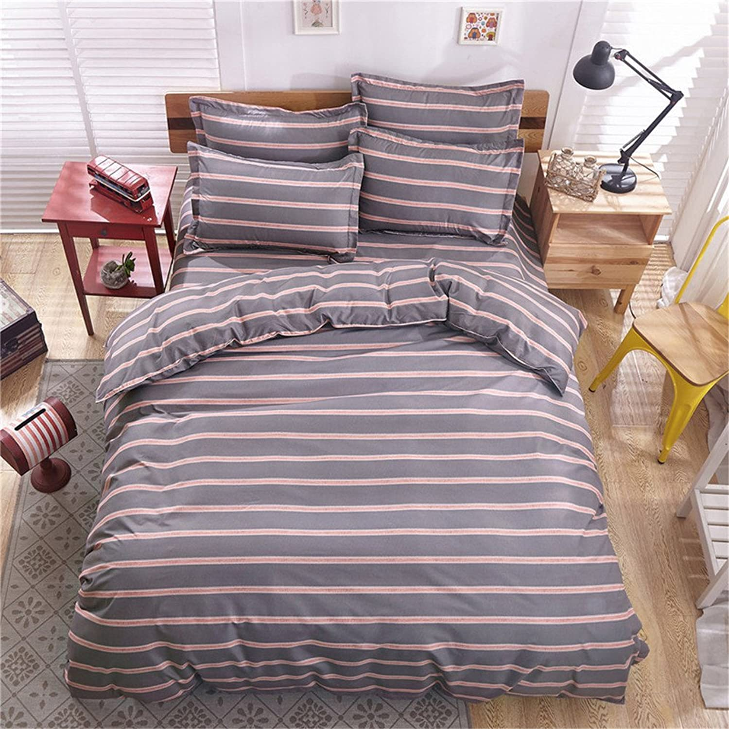 Bestmemories Soft Feeling Microfiber Bed Sheets Set Match Mixed Stripe Pattern Four-Piece Bedding Set with Duvet Cover Flat Sheet and Two Pillowcases for Home Bedroom Guest Room, Queen (B)