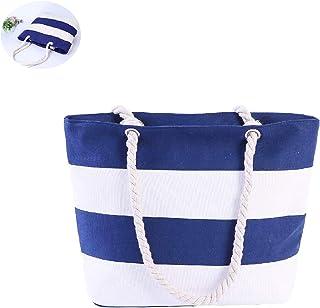 CAILI Damen Canvas Handtasche,Streifen Einzelne Schulter Beutel Segeltuch Handtaschen,Multifunktionale Umhängetaschen,Strandtasche,Einkaufs Tasche Blaue und Weiße