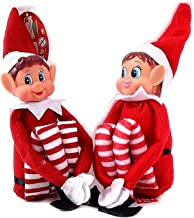 GLOW Wholesale Elfie (Boy) and Elvie (Girl) Set Fun and Playful Elves Behavin' Badly Figure with Soft Body and Vinyl Face-Set of 2, Red