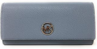 Michael Kors Women's Clutch Wallet Fulton Flap Continental Carryall, Pebbled Leather - Pale Blue