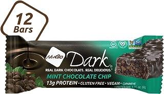 NuGo Dark Chocolate Mint Chocolate Chip, 13g Vegan Protein, 200 Calories, Gluten Free, 12 Count