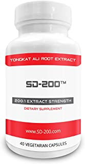 Pure Science SD-200 Tongkat Ali Extract - Derived from 80g of Tongkat Ali Powder with 200:1 Extract Strength - Natural Testosterone Booster - 40 Capsules
