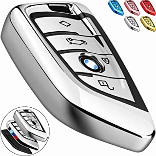 COMPONALL for BMW Key fob Cover, Key Fob Case for BMW 2 5 6 7 Series X1 X2 X3 X5 X6 Premium Soft TPU Anti-dust Full Protection, Silver