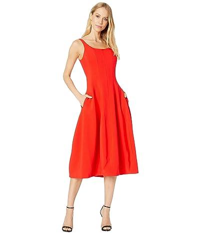 Halston Heritage Sleeveless Scoop Neck Fit and Flare Dress (Geranium) Women
