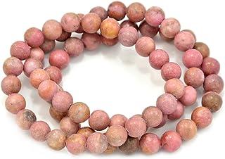 أساور قابلة للتمدد من Paialco Jewelry Rodochrosite من الأحجار الكريمة المستديرة، حزمة من 3