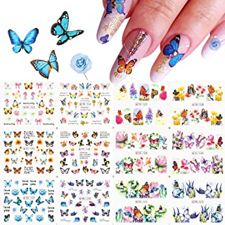 Butterfly Nail Art Stickers Decals - Nail Stickers for Acrylic Nails Butterflies Water Transfer Nail Decals Foil Designs D...