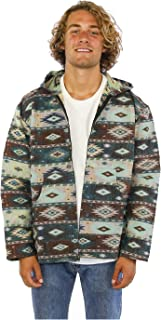 Premium Jacquard Woven Zip Up Hoodie Hooded Jacket Aztec Sky