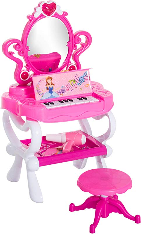 Qaba 2 In 1 Kids Piano Vanity Table Stool Princess Pretend Play Set With Lights Sounds And Accessories Pink White