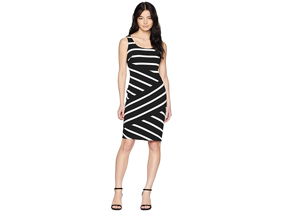 Adrianna Papell Petite Ottoman Striped Sheath (Black/Ivory) Women