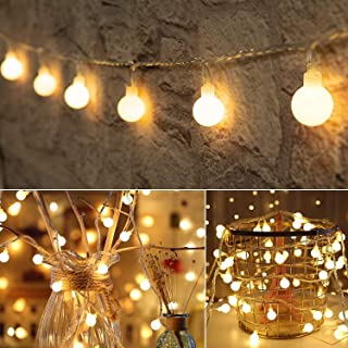 Globe String Lights 49ft 100 LED with Remote Timer,Fairy String Light 8 Modes Dimmable for Indoor Bedroom Outdoor Party We...
