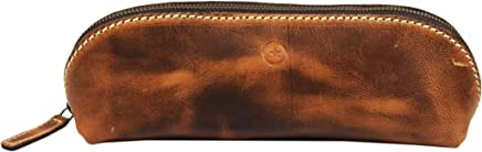 Vintage Leather Zippered Pen/Pencil Case   Classic Cylindrical Design Craft/Art Supplies Storing