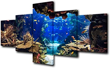5 Piece Canvas Wall Art Tropical Ocean Pictures for Living Room Underwater World Paintings Undersea Coral Reef Artwork HD ...