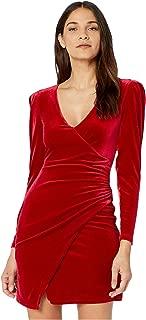 Long Sleeve V-Neck Stretch Velvet Cocktail Dress