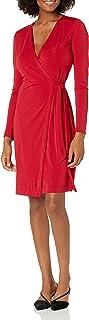 Amazon Brand - Lark & Ro Women's Signature Compact Matte Jersey Long Sleeve Wrap Dress