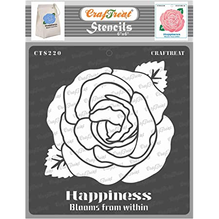 CrafTreat Rose Stencil for Art and Craft - Happiness Blooms from Within - 6X6 Inches - Reusable DIY Stencils of Rose Flower - Rose Flower Stencils for Painting on Canvas