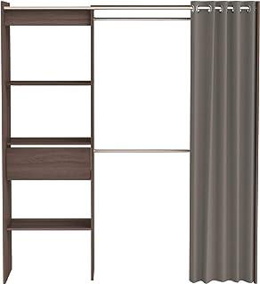 Demeyere Chicago kit Dressing Extensible avec Rideau Coloris Vulcano, Panneaux de Particules, Chêne Vulcan, 168,2x50x187 cm