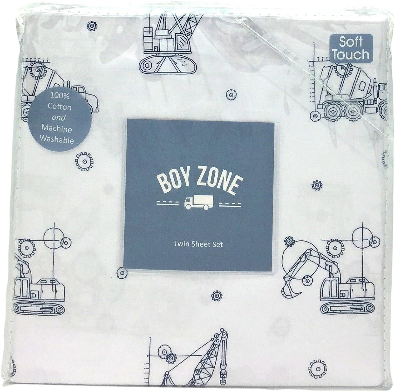 Boy Zone blueeprint Construction Vehicles Twin Size Sheet Set