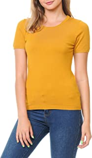LoveInStyle CieloWomens Short Sleeve Crew Neck Knit Pullover Sweater (S-XL)