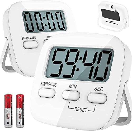 T Tersely 2 Pack Digital Kitchen Timer with AAA Battery Included, With Countdown,Loud Alarm,Auto-Off, Magnetic Back,B...