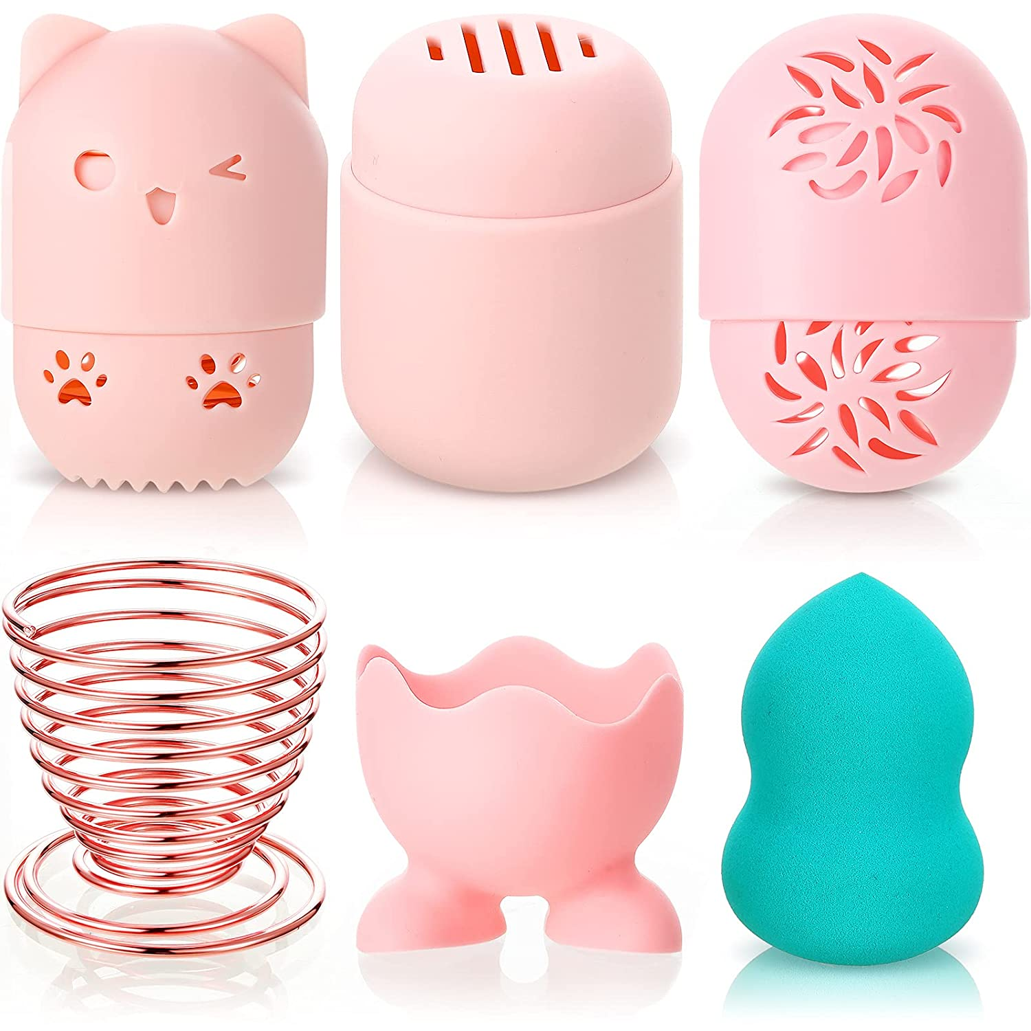 5 Pieces Makeup Sponge Holder Portable Blender Holder Silicone Sponge Blender Container Beauty Sponge Drying Holder Travel Case Cute Makeup Sponge Display Stand for Daily and Travel Use, 5 Styles