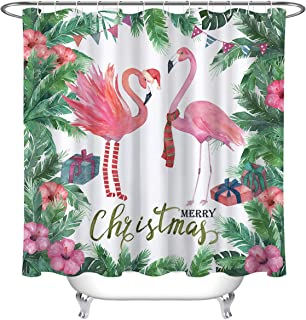 "72x72/"" Pink Girl Christmas Waterproof Fabric Bathroom Shower Curtain Set Hooks"