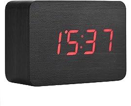 Houten wekker, houten elektronische digitale wekker met LED-temperatuurdisplay en geluiden Controle, Black
