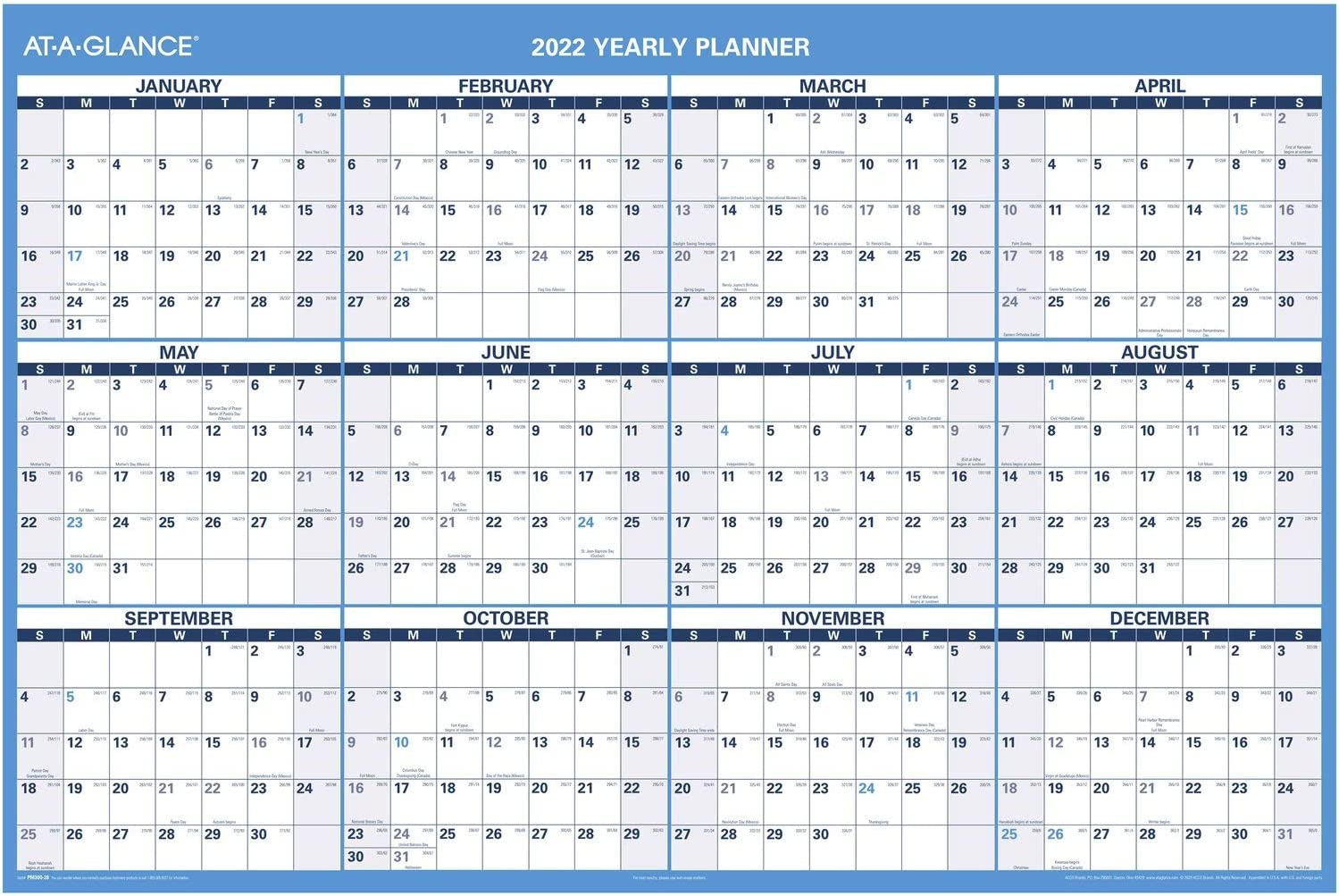 2022 Erasable Calendar Dry Save money Erase Planner AT-A-GLANCE Wall New Free Shipping 4 by