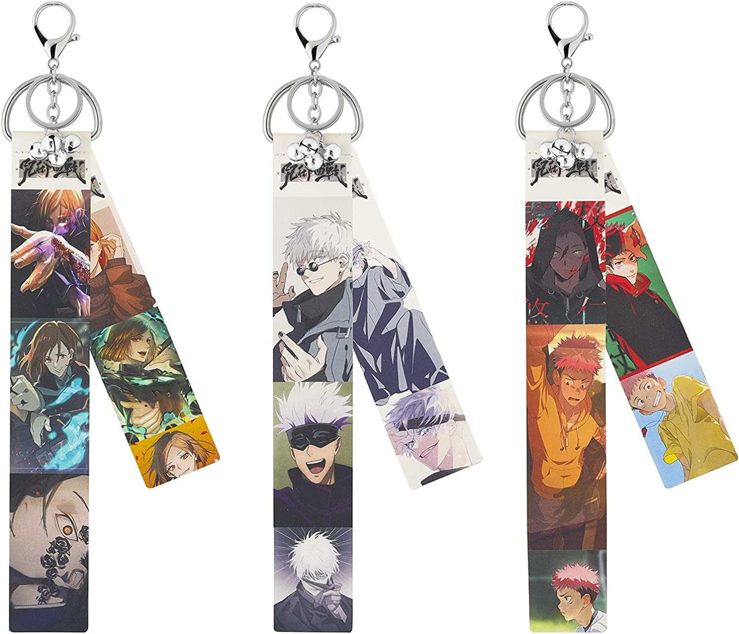 3Pcs Jujutsu Kaisen Keychain Cosplay,Leather Material Keychain Exquisite Ornaments Gift for Anime Fans