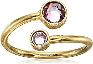 Women's Birth Month Ring Wrap June, 14kt Gold Plated, Adjustable