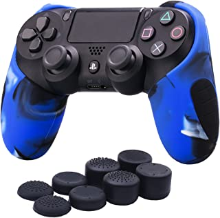 YoRHa Silicone Half extra Thick Cover Skin Case for Sony PS4/slim/Pro Dualshock 4 controller x 1(camouflage blue) With Pro thumb grips x 8