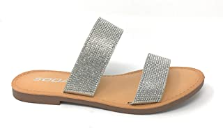 e3d1f1424519e9 SODA Shoes Women Flip Flops Sandals Bling Rhinestone Crystal Slides Footbed  Sylvia