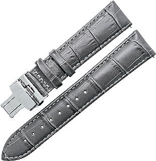 【TON CHARME】トンチャーメー 腕時計用ベルト EASY CLICK(イージークリック)本革 Dバックル プッシュボタン式 観音開き 時計バンド ピンク・ブルー・ホワイト・ブラック・ブラウン・グレー・レッド12/14/16/18/19/20/21/22/23/24mm (20mm, ダークグレー/銀Dバックル)