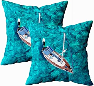 Douecish 18X18 Pillow Cover,2 Packs Bed Pillow Covers, Cushion Soft Home Sofa Decorative Aerial Bird's Eye View Photo Sail Boat in Tropical Paradise Bay White Rock Double Printed,Ivory Green