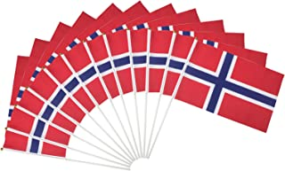 Norway Polyester Country Flags Desk Outside Waving Parade Norwegian (12-Pack Hand Flag)