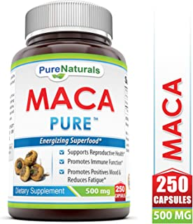 Pure Naturals Maca Capsules, 500 Mg 250 Capsules- Supports Reproductive Health* Promotes Immune Function* Promotes Positive Moods Reduce Fatugue*